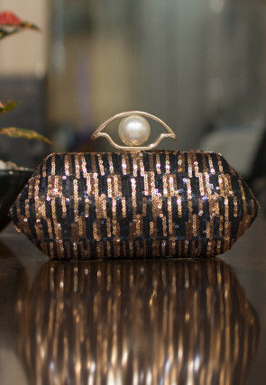 Embellished Art Silk Box Clutch in Black and Golden