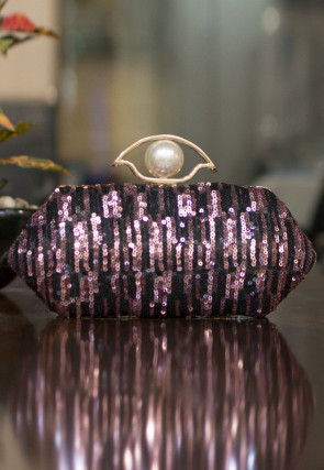 Embellished Art Silk Box Clutch in Black and Purple