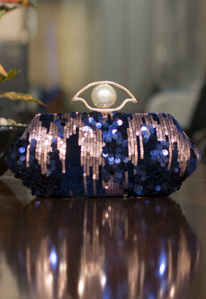 Embellished Art Silk Box Clutch in Blue and Golden