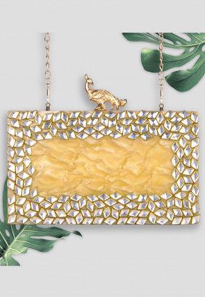 Embellished Art Silk Box Clutch Bag in Mustard