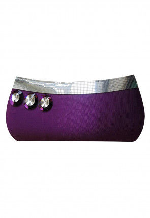 Embellished Art Silk Envelope Clutch Bag in Purple