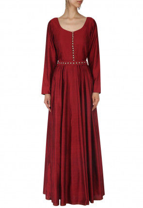 Embellished Art Silk Flared Gown in Maroon
