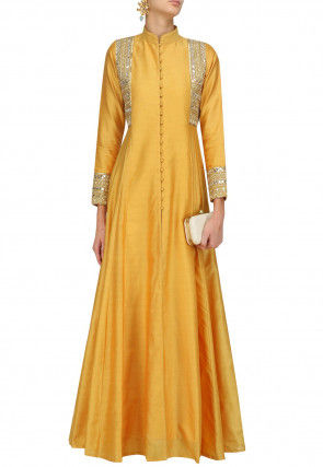Embellished Art Silk Flared Gown in Mustard