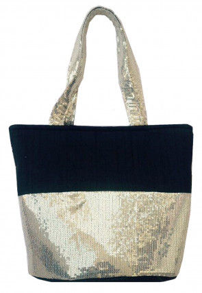Embellished Art Silk Hand Bag in Black and Silver