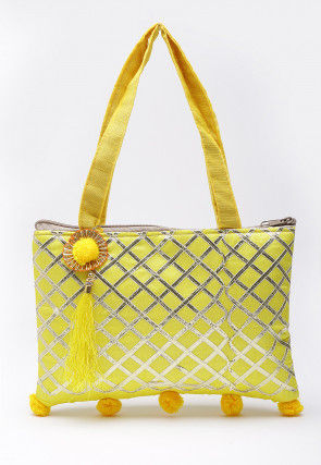 Embellished Art Silk Hand Bag in Yellow