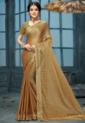Embellished Art Silk Jacquard Saree in Beige