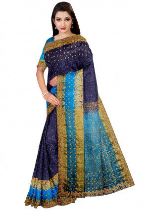 Embellished Art Silk Jacquard Saree in Dark Navy Blue