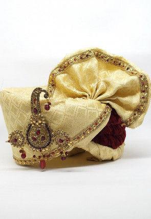 Embellished Art Silk Jacquard Turban in Beige and Maroon
