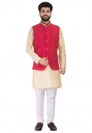 Embellished Art Silk Kurta Jacket Set in Beige and Fuchsia