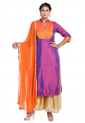 Embellished Art Silk Pakistani Suit in Purple
