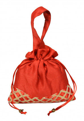 Embellished Art Silk Potli Bag in Red