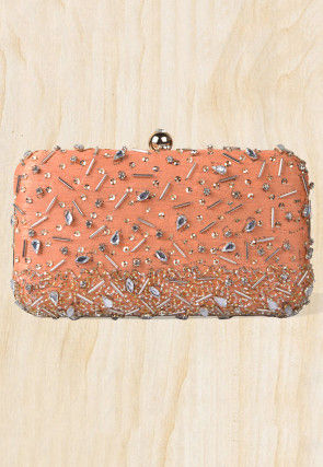 Embellished Art Silk Rectangular Box Clutch Bag in Peach