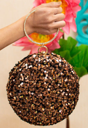 Embellished Art Silk Round Bracelet Clutch Bag in Copper