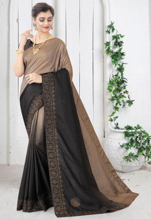 Embellished Art Silk Saree in Beige and Black Ombre