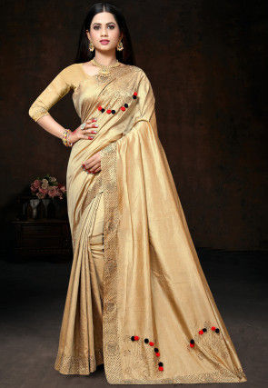 Embellished Art Silk Saree in Beige
