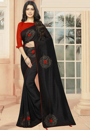 Embellished Art Silk Saree in Black