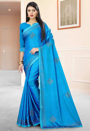 Embellished Art Silk Saree in Blue