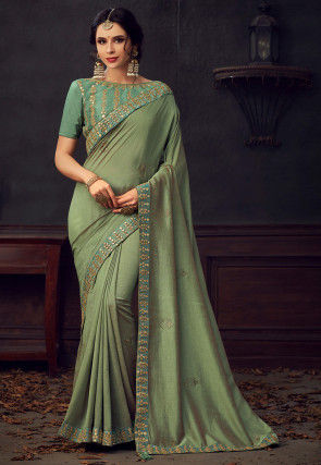 Embellished Art Silk Saree in Dusty Green