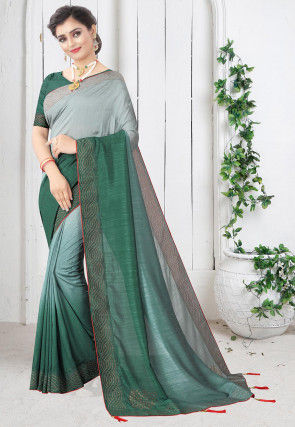 Embellished Art Silk Saree in Grey and Dark Green Ombre