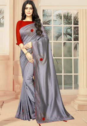 Embellished Art Silk Saree in Grey