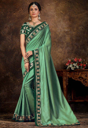 Embellished Art Silk Saree in Light Green