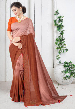 Embellished Art Silk Saree in Light Peach and Rust Ombre