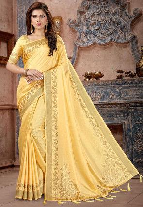 Embellished Art Silk Saree in Light Yellow