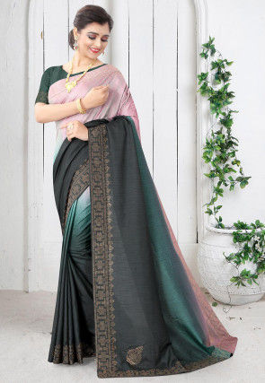 Embellished Art Silk Saree in Multicolor Ombre