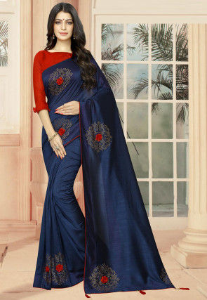 Embellished Art Silk Saree in Navy Blue