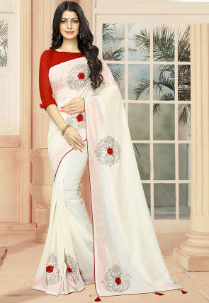 Embellished Art Silk Saree in Off White