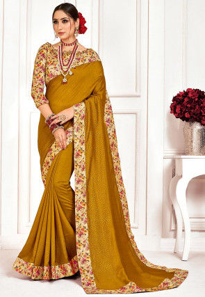 Embellished Art Silk Saree in Old Gold