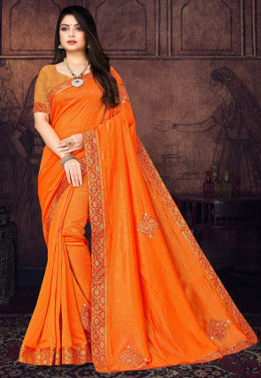 Embellished Art Silk Saree in Orange