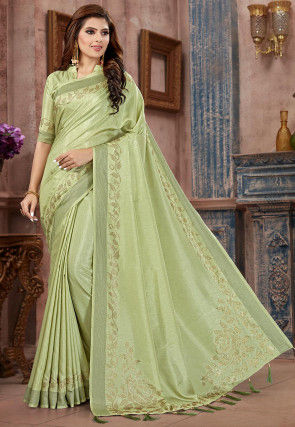 Embellished Art Silk Saree in Pastel Green