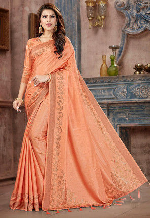 Embellished Art Silk Saree in Peach