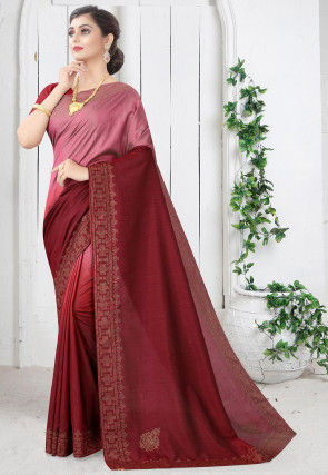 Embellished Art Silk Saree in Pink and Maroon Ombre