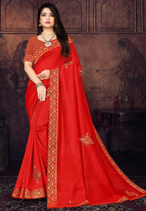 Embellished Art Silk Saree in Red