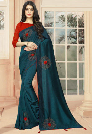 Embellished Art Silk Saree in Teal Blue