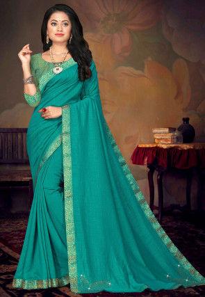 Embellished Art Silk Saree in Teal Blue
