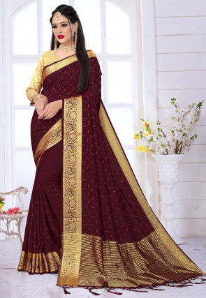 Embellished Art Silk Saree in Wine