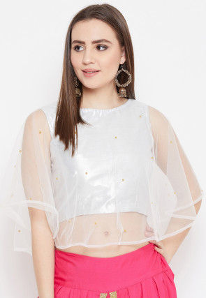 Embellished Art Silk Shimmer Cape Style Crop Top in White
