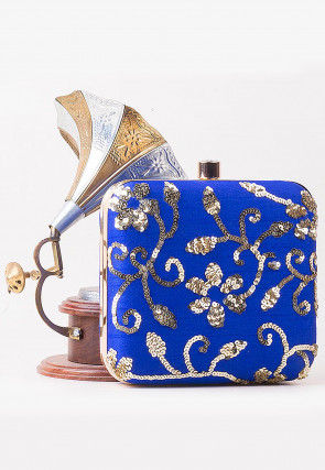 Embellished Art Silk Square Box Clutch in Royal Blue