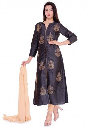Embellished Art Silk Straight Suit in Dark Grey