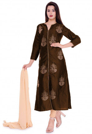 Embellished Art Silk Straight Suit in Dark Brown