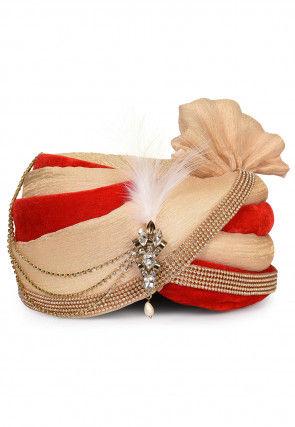 Embellished Art Silk Turban in Beige