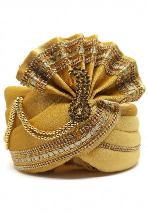 Embellished Velvet Turban in Golden