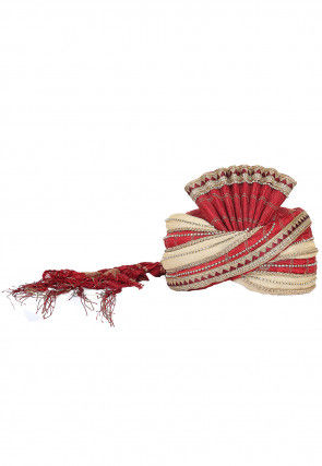 Embellished Art Silk Turban in Maroon and Light Beige