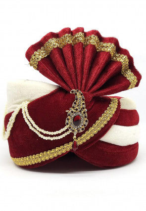 Embellished Art Silk Turban in Maroon and Off White