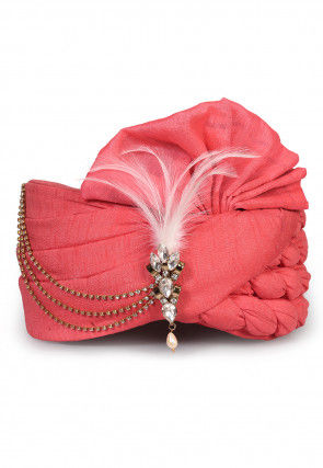 Embellished Art Silk Turban in Peach