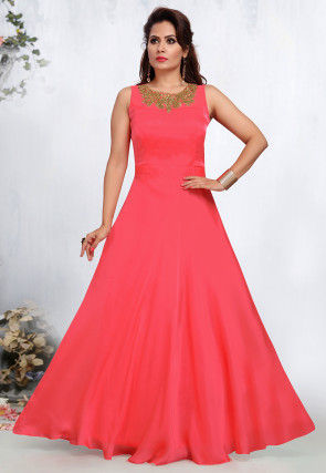 Embellished Art Taffeta Silk Gown in Pink