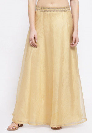 Embellished Belt Organza Skirt in Beige